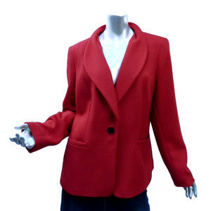 Brilliant Lafayette 148 Blazer Jacket 14 Red Wool